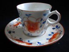"""Tasse ancienne en porcelaine de Bayeux. """"Décor aux ursulines""""période Gosse."""