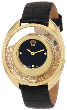 Versace Women's 82Q70D008 S009 Destiny Spirit Small Yellow-Gold Plated Black Dial Leather Watch