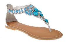 Queue beaded flat gladiator sandals