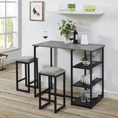 Patio Bar Set, Pub Table Sets, Bar Tables, Small Pub Table, Small Dining, Concrete Table Top, Pub Set, Counter Height Dining Sets, Decoration Inspiration