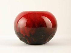 RUSCHA Keramik Vase Form Midcentury Westdeutschland 820/1 rot