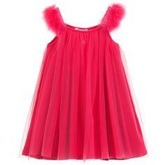 Miss Blumarine Fuchsia Pink Tulle Dress with Feather Trim at Childrensalon.com
