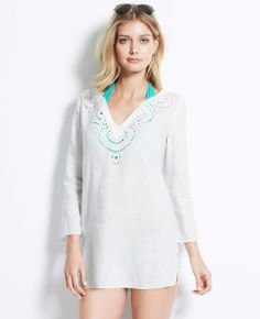 Embroidered Linen Swimsuit Cover Up