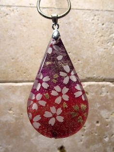 Japanese Yuzen Paper Collage Necklace Oriental jewelry by Chaerea, $19.00