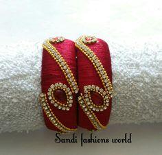 Silk Thread Earrings Designs, Silk Thread Bangles Design, Silk Thread Necklace, Silk Bangles, Beaded Necklace Patterns, Bridal Bangles, Thread Jewellery, Textile Jewelry, Jewelry Patterns