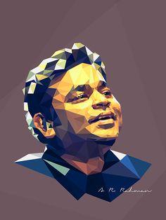 Low Poly Portrait - A R Rahman #portrait #lowPoly #polygon #Vector #triangle #Music #Artist #arrahman #Morzartofmusic