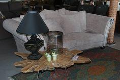 Boomstam salontafel / bijzettafel van Meubels en Meer