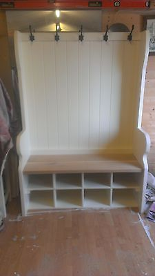 # Handmade Bespoke pew / settle with coat hooks and shoe storage. Porch storage#