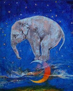 Tumblr Frames On Wall, Framed Wall Art, Wall Art Prints, Canvas Prints, Elephant Walk, Baby Elephant, Bachelor Of Fine Arts, Custom Canvas, Moon Art