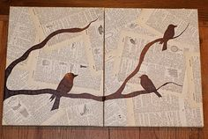 Diy Wall Art - Change The Birds To Spoons, Forks Or Knives, Maybe A Coffee Cup?