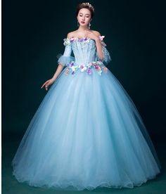ruffled sleeve light blue Medieval dress Renaissance Gown princess Victorian Gothic /Marie Antoinette/civil war/Colonial Belle