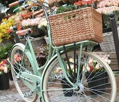 """""""A luscious spring green painted vintage bicycle with basket in front of this pretty floral backdrop says romantic picnic to me"""". Natalie Fermoyle Photo credit: lovelyindeed.com Big Basket, Bicycle Basket, Dog Basket For Bike, Beach Cruiser Bikes, Beach Cruisers, Cruiser Bicycle, Bicycle Girl, Flower Market, Mint Green"""