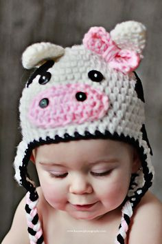 """Cow Hat pattern by Alessandra Hayden With winter on the way, why not whip up a """"Lil Cow Hat"""" for your little one! MOOvalous : )With winter on the way, why not whip up a """"Lil Cow Hat"""" for your little one! Crochet Animal Hats, Crochet Cow, Bonnet Crochet, Crochet Kids Hats, Crochet Beanie, Crochet Crafts, Love Crochet, Crochet Projects, Knitted Hats"""