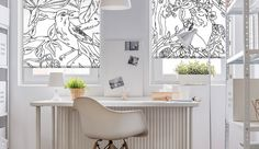 Bird garden roller blinds - #custom #made #printed #DIY #interior #design #rollerblinds #birds #pattern #windowdecor #windowtreatments #blackandwhite #decoshaker.com