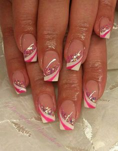 Like pink nails nails, french nails и acrylic nails Gel Nail Designs, Beautiful Nail Designs, Cute Nail Designs, Fancy Nails, Cute Nails, Pretty Nails, French Nail Art, French Tip Nails, Glitter French Nails