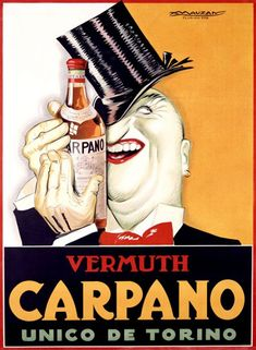 Solid-Faced Canvas Print Wall Art Print entitled Vermuth Carpano/Unico de Torino Vintage Advertising Poster, None Vintage Italian Posters, Vintage Advertising Posters, Vintage Advertisements, Print Advertising, Advertising Campaign, Print Ads, Retro Poster, Poster Ads, Poster Prints