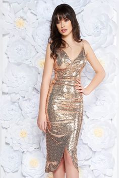 StarShinerS cream occasional dress with inside lining with sequins with tented cut with straps wrap around, sequin embellished details, inside lining, tented cut, with straps, deep cleavage, slightly elastic fabric, wrap around, side zip fastening