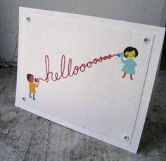Hello Hand Sewn Card on Etsy: kingpopcorn