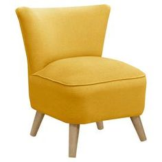 """Add midcentury modern flair to your decor with this handcrafted accent chair, featuring a pine wood frame and plush foam cushioning.  Product: ChairConstruction Material: Solid pine, polyurethane and polyester fill foamColor: French yellowFeatures: Handmade in the USADimensions: 32"""" H x 23.5"""" W x 25"""" D Assembly: Easy assembly requiredCleaning and Care: Spot clean only"""