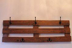 Rustic large coat rack made of recycled pallet wood, black metal hooks, Chestnut stain handmade