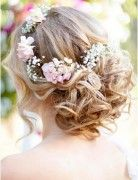 Romantic Bohemian Wedding Hairstyle for Medium Length Hair