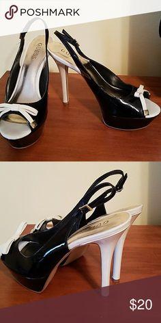 Shoes Black and cream slingback peep toe Guess Shoes Heels
