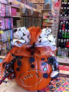 Texas longhorn decorated pumpkin