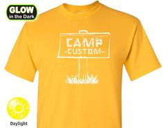 Custom Camp Glow-in-the-Dark Neon T-shirt - This Camp T-shirt is totally CUSTOM - personalize with your family name, company name or event!