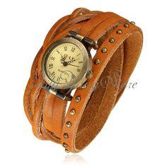 Reloj De Mujer Con Pulsera Cuero Abalorios Cuarzo Brazalete Estilo Vintage  Watch  2af655e51213