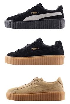 a77088f6b29100 Puma by rihanna women suede creeper black-oatmeal oatmeal black-star  white-black