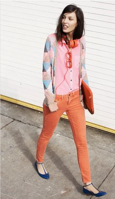 Pastel color blocking by Madewell. I love me some orange and pink as much as I love me some red and pink. And that's a whole lot of love.