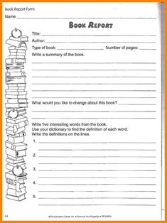 book report writing practice worksheet for 5th and 6th grade