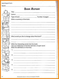 Sample 4th Grade Book Report Format Google Search