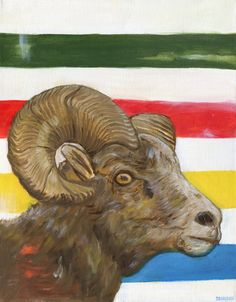 Bighorn Sheep with Hudson's Bay background- original painting Sky Online, Hudson Bay Blanket, Mirror Box, I Icon, Oil Painting On Canvas, Sheep, Moose Art, Original Paintings, The Originals