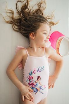 Collager Kids Baby Girls Ruffle Sleeves Backless Swimsuit Toddler Little Girls Jumpsuit Bodysuit Swan One Piece Swimwear