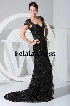 Lace prom dress 2014  black evening dress / long by FelalaDress, $169.00