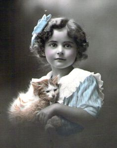 vintage girl with cat