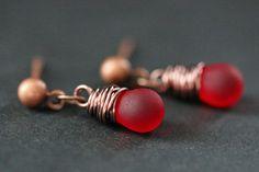 COPPER Earrings  Frosted Red Teardrop Earrings. by TheTeardropShop, $22.00