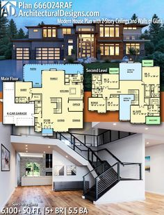 Plan 666024raf Modern House Plan With 2 Story Ceilings And Walls Of Glass In 2020 House Blueprints Modern House Plans Modern House Plan