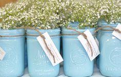 Spray paint mason jars...good idea for a shower