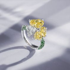 The coloured gemstones in our limited-edition collection are set in platinum or white gold, accompanied by precious tsavorites on the band. The 18 pieces in the collection are available exclusively from the Bucherer Store in Zurich. Fine Jewelry, Jewellery, Zurich, Gemstone Colors, Diamond Rings, Heart Ring, White Gold, Fancy, Engagement Rings
