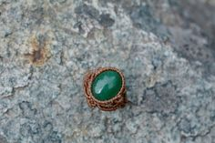 Aventurine macrame ring macrame jewelry by EarthCraftHandmade
