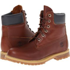 Timberland 6 Premium Boot (Glazed Ginger) Women's Lace-up Boots ($135) ❤ liked on Polyvore featuring shoes, boots and brown