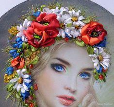 "picture ""Ukrainian girl"",  Silk ribbon embroidery, silk, flowers, gift, nostalgia,Ukraine"
