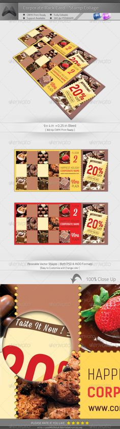 Corporate Rack Card - Stamp Collage #GraphicRiver [Corporate Rack Card – Stamp Collage] 9×4 in + 0.25 in Bleed, CMYK Print Ready. Photoshop PSD CS4 or higher – 300DPI InDesign INDD/IDML for CS4 or higher- 300DPI Easy to customize and Multiple Color Themes Incl. Multipurpose Corporate Rack Card – Chocolate/Cookie/Coffee/Snacks/Buffee Template. Excellent for your multipurpose corporate usage. Font used: Kelson Sans,Mission Script Exclusive on Graphicriver Only. Pre...