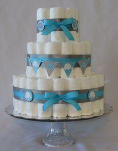 Baby Boy Diaper Cake Aqua and Grey Elephant Shower by SweetCakesDB, $45.00