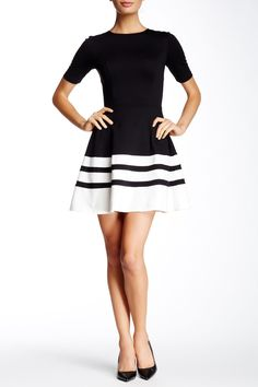 Love...Ady - Elbow Sleeve Colorblock Fit & Flare Dress at Nordstrom Rack. Free Shipping on orders over $100.