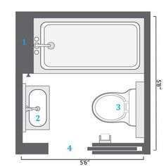 3ft x 9ft small bathroom floor plan long and thin with for Bathroom design 5x6