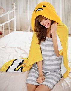 Sanrio-Gudetama-Cloak-Shawl-Blanket-Warm-Soft-120x75cm-Made-In-Taiwan