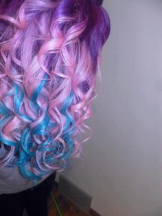 colourful hair..so pretty and artistic... beautiful curls with a beautiful color!! Love it!